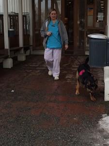 Hundersköterskan går av sitt pass