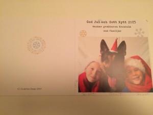 Julkorten, fram- och baksida